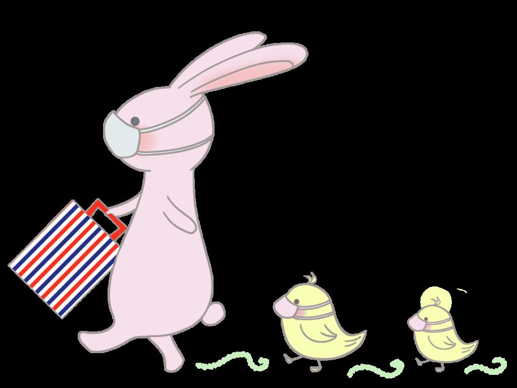 ウサギとひよこのおさんぽ