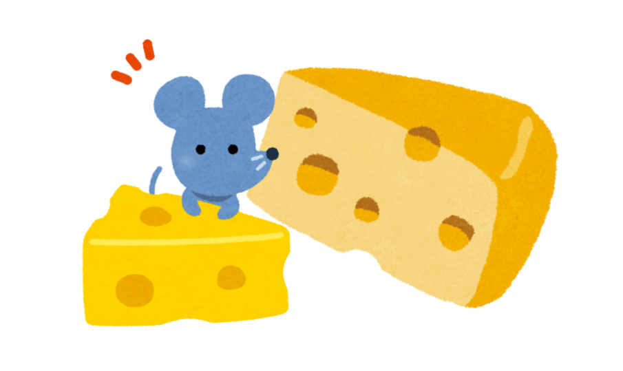 ふたつのチーズを前に汗をかくネズミの図
